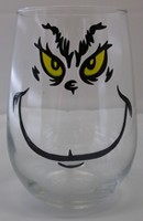 Grinch Face on a Glass